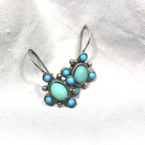 EUC Vintage Turquoise N R Stamped Earrings